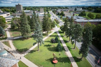 A handsome areal view of the quad outside of Champlain Valley Hall.