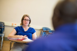 A Student Affairs and Higher Education class leads an intense discussion.