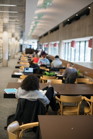 Desks, cozy chairs, and outlets are bountiful in the Feinberg Library.