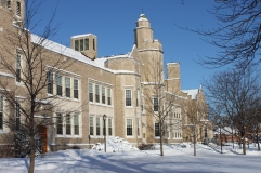 Hawkins Hall on a crisp winter morning.